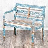 LEBENSwohnART Sitzbank Christos Blue-Washed 100cm Mahagoni Holzbank Bank Handarbeit Massivholz