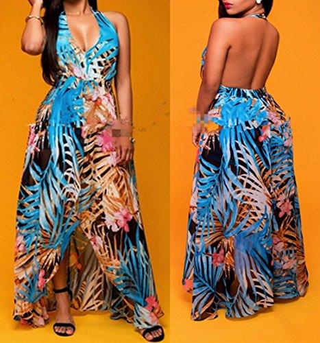 Femmes V Neck Halter Floral Maxi Robe Overlay Dos nu Romper Playsuit Jumpsuit Comme l'image