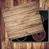 decorwelt | Ceranfeldabdeckung 60x52 cm Herdabdeckplatten 1 Teilig Elektroherd Induktion Herdschutz Deko Glasplatte Schneidebrett Sicherheitsglas Spritzschutz Glas Holz