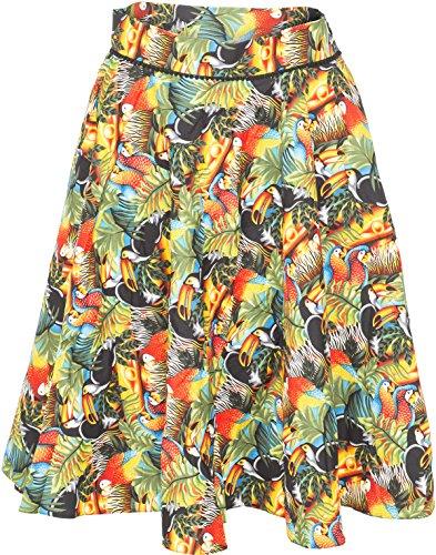 Küstenluder Damen Rock Nevaeh Tropical Jungle Tellerrock Mehrfarbig 2XL
