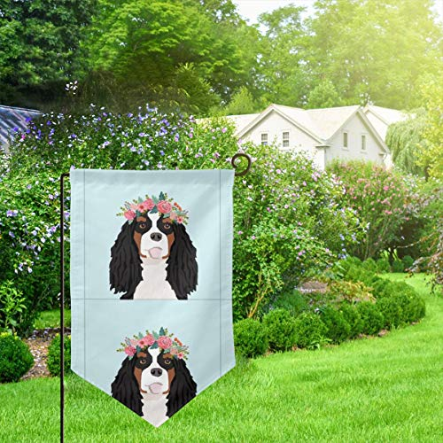 IconSymbol Garden Outdoor Flag Banner Cavalier King Charles Spaniel Tri Dog with Cut Lines Dog Panel Dog Cut Sew Floral Decorative Weather Resistant Double Stitched 18x12.5 Inch (Outdoor Decorative Flag Pole)