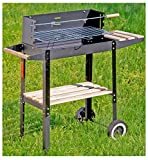 Grill-Wagen Holzkohle-Grill Barbecue-Grill Grill-Kamin Stand-Grill Outdoor Camping Edelstahl Ablage-Bretter schwarz 80 cm
