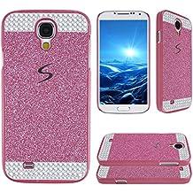 Asnlove para Samsung Galaxy S4 i9500 i9505 / S4 VE LTE i9515 Funda y carcasa bling con diamante rigida dura policardonato cover goma ultrafino diseño bling case protectora la tapa trasera-Rosa