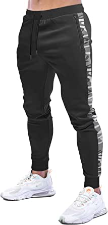 MakingDa Mens Gym Joggers Trousers Sweatpants Slim Fit Tracksuit Bottoms Elasticated Waist Jogging Workout Running Pants with Pockets