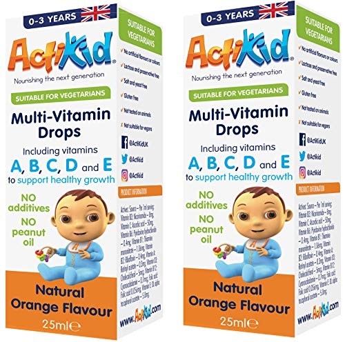 SPECIAL OFFER 2x ActiKid Multi-Vitamin Drops 25ml, Gelatine Free (vitamin drops for babies, toddlers and kids) - Baby Vitamin C