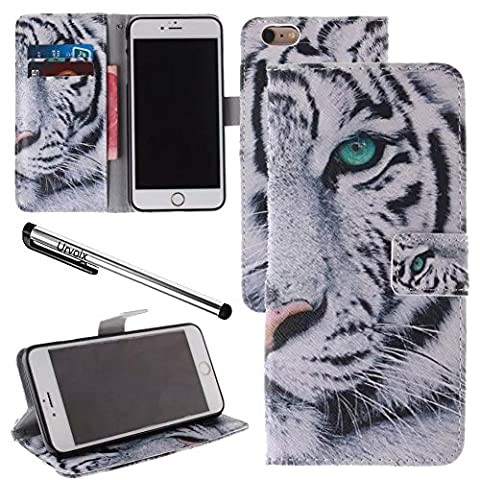 Urvoix For 4.7'' iPhone 6/6S, White Tiger PU Leather Flip Wallet Case Cover - w/ Picture on Card Holder, Magnetic Closure, Stand Feature for iPhone 6/6S (NOT fits