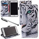 Urvoix™ - Funda para iPhone 6/6s (no compatible con iPhone 6/6s Plus, para 4,7 pulgadas, poliuretano, incluye tapa, cierre magnético y función de atril), diseño con tigre blanco