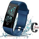 Lige Fitness Armband,Fitness Trackers Wasserdicht Smart Armband Schrittzähler mit Kalorienzähler, Aktivitäts-Tracker mit Pulsmesser,für Männer Frauen Kinder Blau Sport Armband für Android & IOS