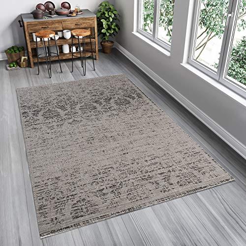 Tapiso FLOORLUX Teppich Flachgewebe Sisal Optik Modern Meliert Grau Silber Schwarz Floral Ornament Vintage Wohnzimmer Küche Indoor 140 x 200 cm -