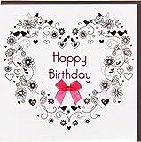 """Bezauberndes """"Happy Birthday"""" von Koko Designs mit Kristallen und Schleife KE008"""