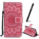 Schutzhülle für Huawei Ascend P7 Pink,Slynmax Mandala Blume Hülle Wallet Case Handyhülle für Huawei Ascend P7 Tasche Klapphülle Flip Cover Lederhülle Stand Kartenfächer (Flower of Paradise)