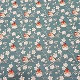 Stoff Meterware Baumwolle Rotkehlchen Kirschblüten blau