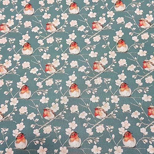 Stoff Meterware Baumwolle Rotkehlchen Kirschblüten blau grau rot Vogel Japan Kleiderstoff Dekostoff Japan Vogel