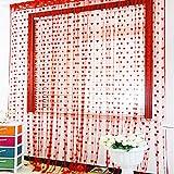 Heißer Vorhang mit Herz-Motiv, für Türen, Fenster, Wohnzimmer, Dekorative Fadenvorhang, 1 x 2 m