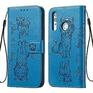 FAWUMAN Hülle für Huawei Honor 10i /Honor 10 Lite Mit Schlüsselband,TPU+PU Klapphülle Brieftasche Kartenfächer Handyhülle Stylish Flip Magnetverschluss Geschlossen Case mit Standfunktion