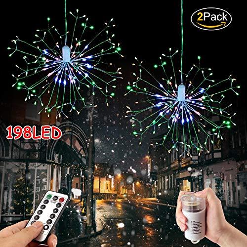 Lichterkette Weihnachts Feuerwerk 198 LED Kupferdraht Feuerwerk Lichter mit Fernbedienung 8 Modi der Lumineszenz Wasserdicht fur Schlafzimmer Haus Garten Terrasse (198 LED Gefärbt, 2 PACK) -