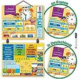 Calendrier Magnétique pour Enfants avec «134 Aimants d'Apprentissage» pour Mur ou Réfrigérateur. Activité éducative amusante pour la maison ou l'école. Météo, Temps, Saison, Activités, Émotions