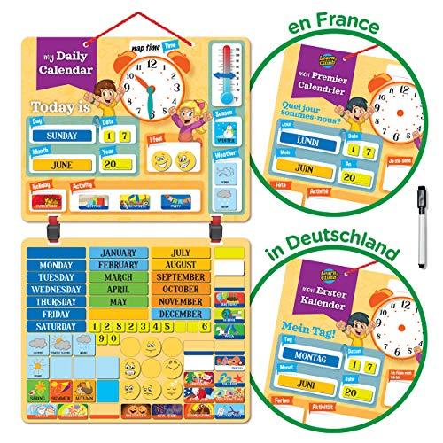 Kinder Kalender Magnettafel mit 134 Lern-Magneten zur Befestigung an Wand oder Kühlschrank. Lehrreiche Aktivität für Grundschule oder Zuhause. Wetter, Zeit, Jahreszeit, Aktivitäten, Emotionen.