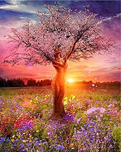 DIY Paint by Numbers Kit for Adults - Tree of Life | DIY Paint by Numbers Landscape Scene Paintings Pictures Arts Craft for Home Wall Decor Pre-Printed Art-Quality Canvas 3 Brushes (Original Version)