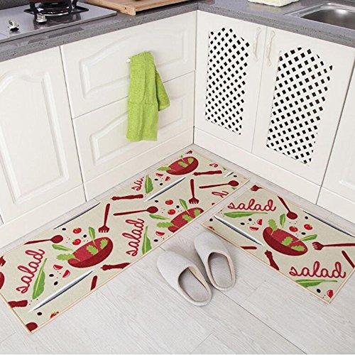Treppe Läufer-gummi (2 Stück Rutschfeste Küchenmatte Rückseite Aus Gummi Fußmatte Läufer Teppich Set (40 X 120 Cm + 40 X 60 Cm),B)