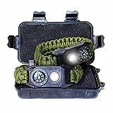 TRSCIND überlebensarmband, 6en 1Paracord Supervivencia Pulsera con Multi Tool, SOS Light, Fuego Acero, brújula, Verde Militar