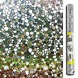 Lemon Cloud, pellicola per privacy non adesiva, per decorazione di vetri satinati, con motivo di mosaico di ciottoli 3D, per casa e ufficio, 45cmx200cm