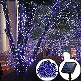 ELINKUME 100 LEDs 17 Meter LED Wasserdicht Solar Lichterkette mit Lichtsensor, Solarlichterketten, Lichterkette außen, Weihnachtslichterketten, Beleuchtung Für Hochzeit und Party Blau