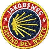 2 x Camino del Norte Abzeichen 52 mm gestickt / Jakobsweg nach Santiago / Aufnäher Aufbügler Flicken Sticker Patch / Spanien Wanderkarte Küstenweg Jakobsmuschel Pilgerweg Pilger Pilgern Spanien