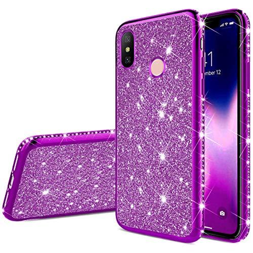 Uposao Kompatibel mit Xiaomi Mi 8 Handyhülle Glänzend Glitzer Kristall Strass Diamant Handytasche Überzug Silikon Schutzhülle Tasche Durchsichtige Hülle Backcover Case,Lila