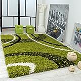 Alfombra Shaggy Pelo Alto Pelo Largo Estampada En Verde Negro Blanco, Grösse:160x220 cm