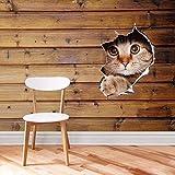 fairylove 3D Loch mit Hund Katze Wandtattoo/Mini Fototapete/Digital WC-Sitz Aufkleber Art Wand Tapete zum Aufhängen Aufkleber cat style