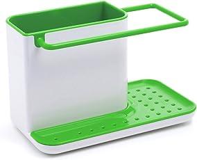 Inovera 3 IN 1 Self Draining Sink Tidy Organiser Sponge Brush Holder (Black)