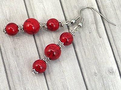 Boucles d'oreilles pendantes en acier inoxydable et perles de turquoise rouge reconstituée