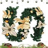 hotbesteu 2 Stück Tannengirlande Weihnachtsgirlande mit Christbaumkugeln und Schleife Weihnachten Deko Girlande Weihnachtsdeko 1.8 Meter Gold