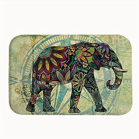 whiangfsoo Retro flores y elefante de diamante alfombrilla de baño puerta esteras, #01, 20
