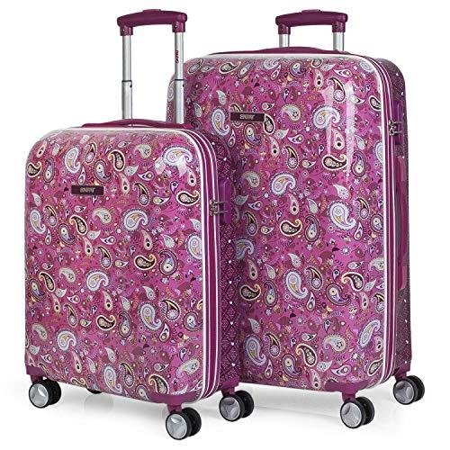 SKPAT - Set di 2 valigie da viaggio Carrello 4 ruote Bambino 55/67 cm in policarbonato stampato. Rigido, resistente e leggero. Maniglia e maniglie, lucchetto. Piccolo 55X40X20 cm. 130300, Color Fucsia