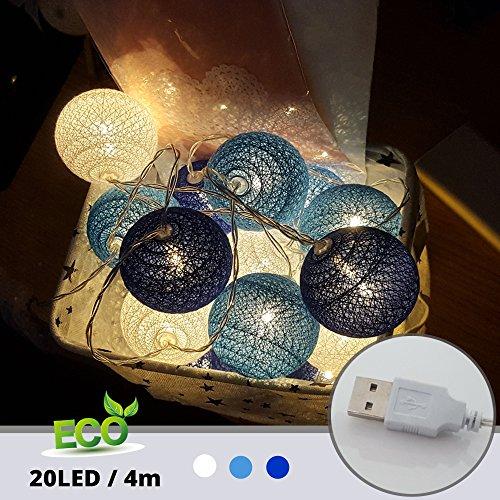 (LED Lichterkette mit Kugeln, Morbuy 6CM Baumwollkugeln Mit 20 Bällen 4M USB Deko Licht Festlich Hochzeiten Geburtstag Party Cotton Ball Themen Weihnachten Lichterkette Dekorative (Blau und Dunkelblau))