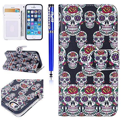 Custodia iPhone 7/iPhone 8 (4.7), EUWLY Flip Cover Leather Wallet Case Custodia per iPhone 7/iPhone 8 (4.7) in PU Pelle, Bling Bling Custodia Cover con Ultra Sottile Interno Silicone TPU Case Protet Fiori Cranio