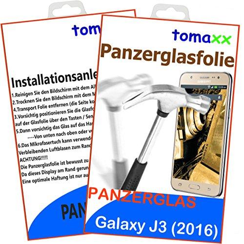 tomaxx Panzerglas für Samsung Galaxy J3 (2016) DUOS Panzerglas Panzerglasfolie Glasfolie 9H Schutzfolie Glas