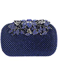 Bonjanvye Flower Purses with Rhinestones Crystal Evening Clutch Bags