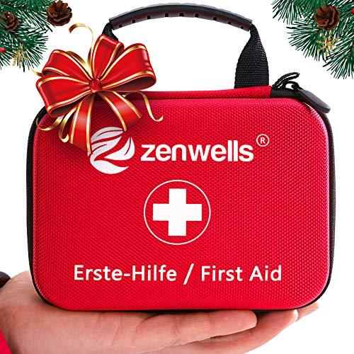 Erste Hilfe Set EINFÜHRUNGSANGEBOT Perfekt für Wandern, Outdoor, Fahrrad, Sport und Reisen - First Aid Kit mit BONUS Notfall Trillerpfeife, Pinzette und Karabiner