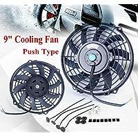 """ALLOYWORKS 9"""" Universel Slim Pull/Push Thermomètre électrique Ventilateur refroidissement radiateur + Kit de montage (12V 80W noir)"""