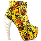 Show Story calavera cremallera high-top Bone oculta tacón plataforma tobillo botas, lf40603, color Amarillo, talla 40