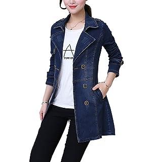 2589f4f28a67 Femmes Veste en Jean Blouse Manteaux Denim Trench Longue Blouson Jacket