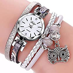 Broadroot Cute Animal Pendant Small Twisted Braided PU Bracelet Watch (Grey)