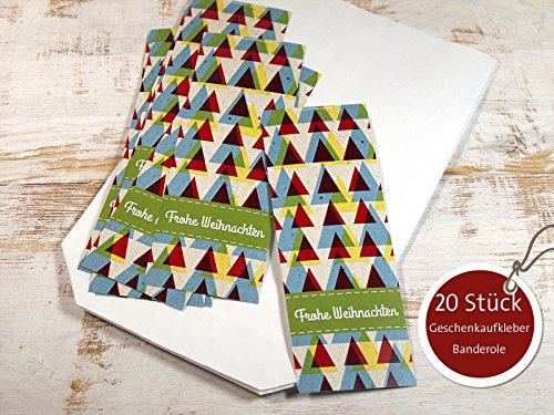 20 Stück große Geschenkaufkleber Banderole Frohes Fest Weihnachten 5 x 15 cm Retro Kraftpapieroptik