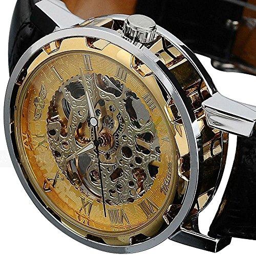 Clásico de oro hombres Dial Esqueleto Negro Cuero Mecánico deporte ejército reloj de pulsera