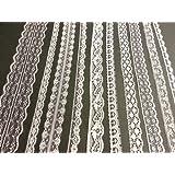 Blanco Vintage Lace - 20 metre surtido de, diseño con texto en inglés de lazo borde suite de cristales y gemas UK