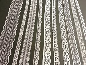 White Vintage Lace - 20 metre assortment, Bridal Wedding Trim Ribbon by Crystals & Gems UK