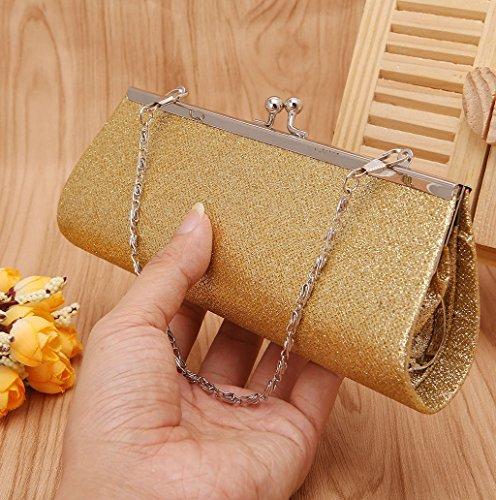 Dairyshop Borsa donna Portafoglio, Borsa da banchetto nozze promenade frizione nuziale sacchetto scintillio delle donne (colore rosa) oro